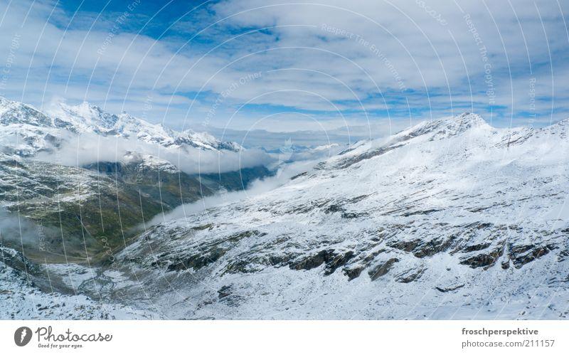 Sky White Blue Clouds Snow Mountain Landscape Air Rock Alps Hill Snowcapped peak