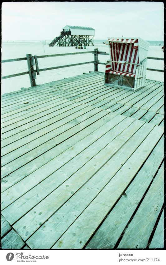 Blue Beach Vacation & Travel Calm Far-off places Cold Wood Landscape Trip Tourism Analog Fence North Sea Beach chair Lomography Ocean