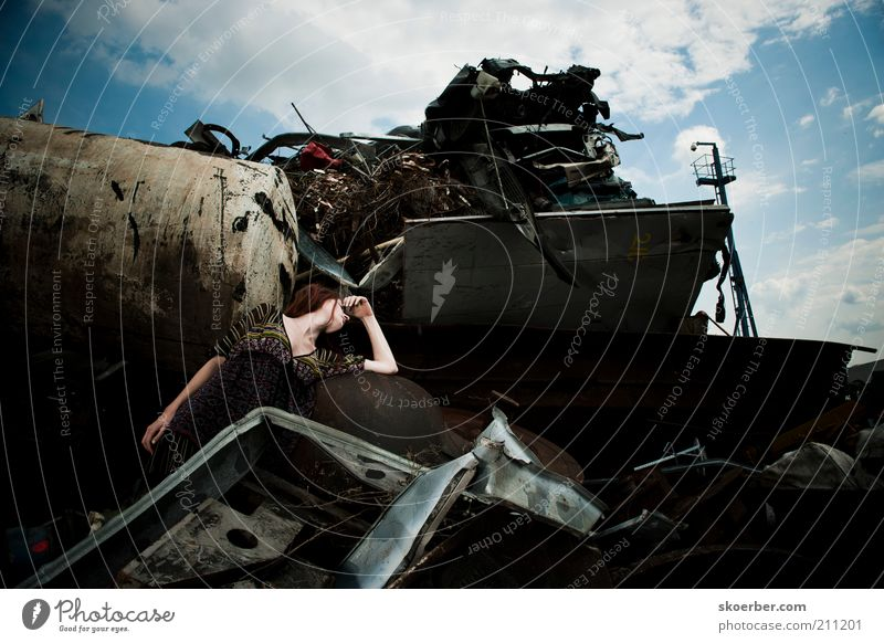 The girl from junkyard 2 Industry Industrial Photography Recycling Feminine Young woman Woman Youth (Young adults) 1 Human being 18 - 30 years Adults