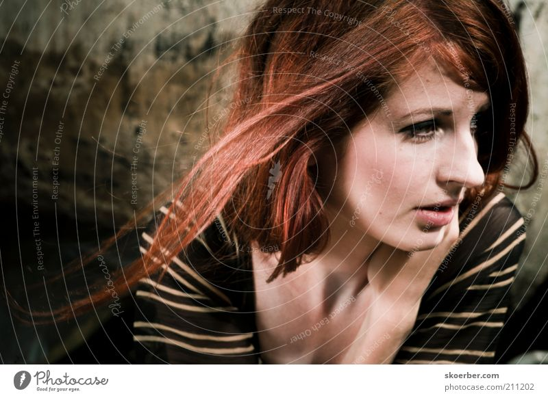 Woman Human being Youth (Young adults) Beautiful Face Dark Feminine Wall (building) Hair and hairstyles Wall (barrier) Dirty Adults Facade Near Natural Sweater