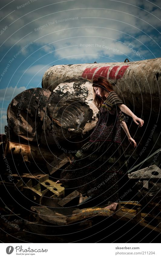 The girl from junkyard 4 Industry Industrial Photography Recycling Feminine Young woman Woman Youth (Young adults) 1 Human being 18 - 30 years Adults