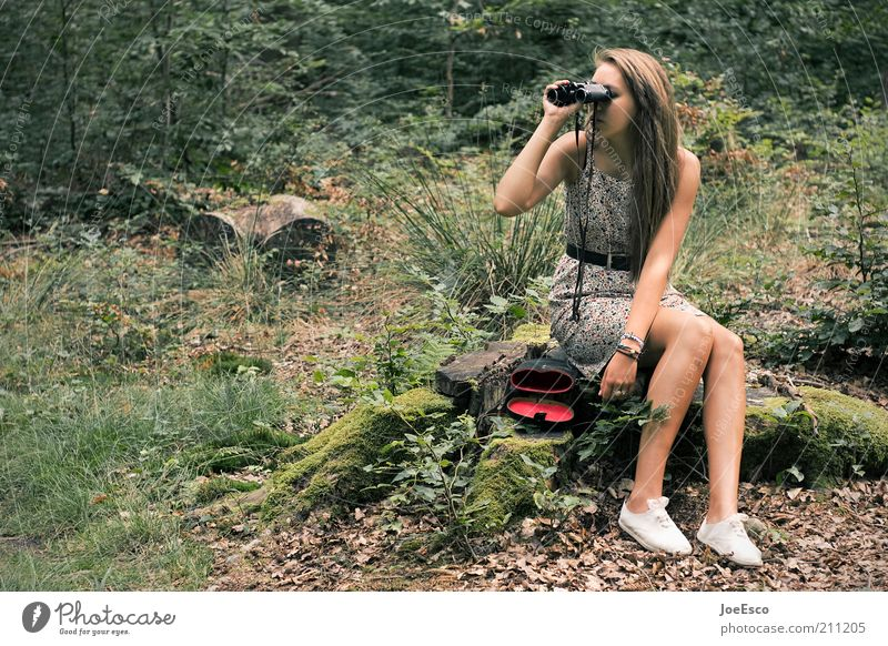 youth researches... Relaxation Leisure and hobbies Trip Hiking Science & Research Human being Woman Adults Life 1 Nature Plant Tree Bushes Forest Dress