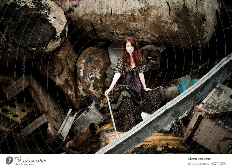 The girl from junkyard 5 Industry Industrial Photography Recycling Feminine Young woman Woman Youth (Young adults) 1 Human being 18 - 30 years Adults Scrapyard