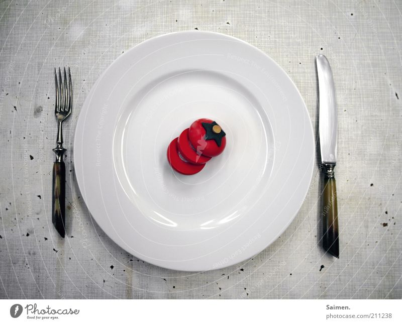 White Exceptional Nutrition Food Dish Appetite Crockery Plate Knives Diet Lunch Tomato Few Vegetable Cutlery Fork
