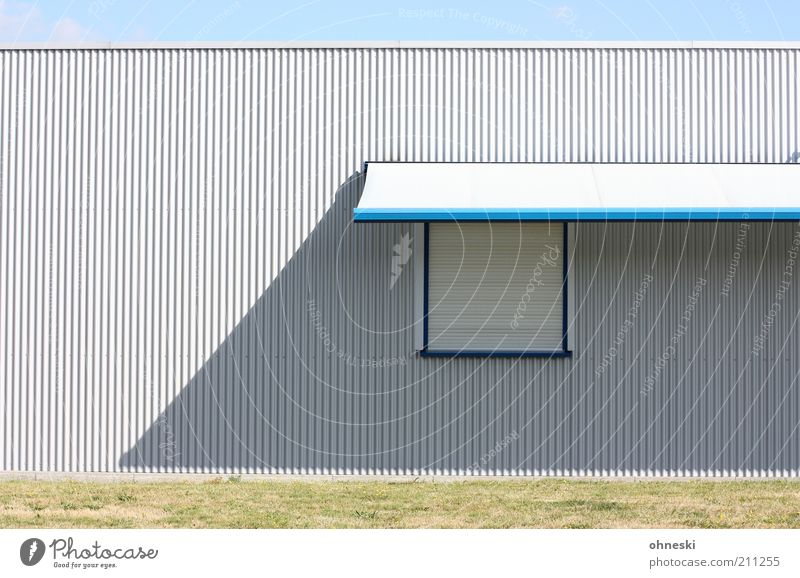 Blue Calm House (Residential Structure) Window Gray Building Facade Closed Roof Manmade structures Warehouse Copy Space left Stagnating Section of image Venetian blinds Factory hall