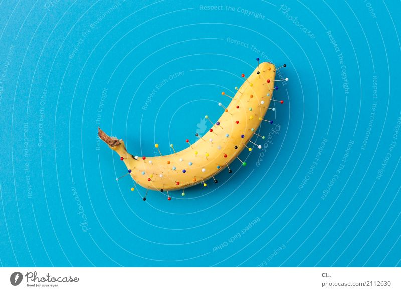 banana Food Fruit Banana Banana skin Nutrition Art Decoration Needle Esthetic Exceptional Happiness Uniqueness Funny Crazy Blue Multicoloured Yellow Bizarre