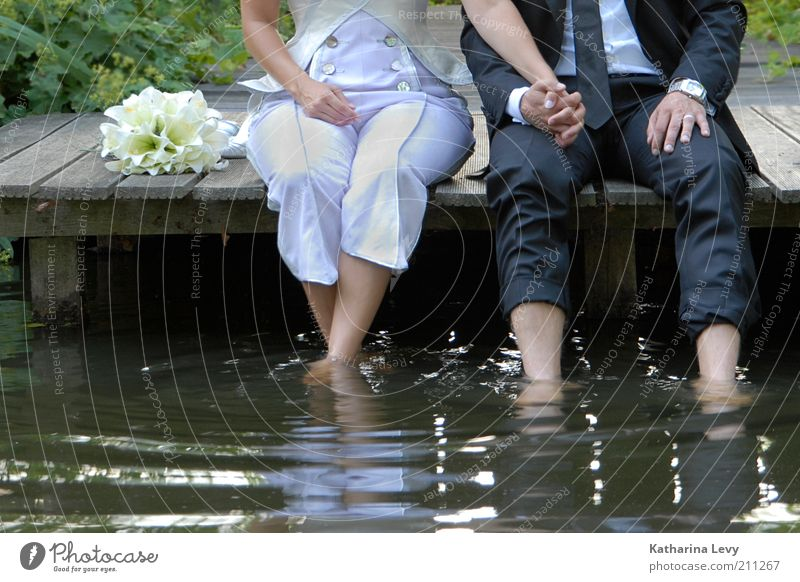 refreshment Joy Harmonious Well-being Contentment Relaxation Calm Wedding Human being Couple Partner Hand Legs 2 Authentic Free Foot bath Water Sit Hold hands