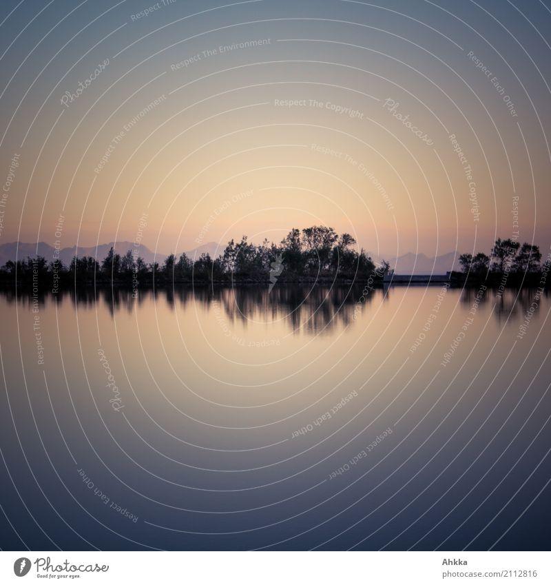 Night harmony, reflection on a lake Harmonious Contentment Senses Relaxation Calm Meditation Mountain Coast Lakeside River Lofotes Moody Elegant Exotic