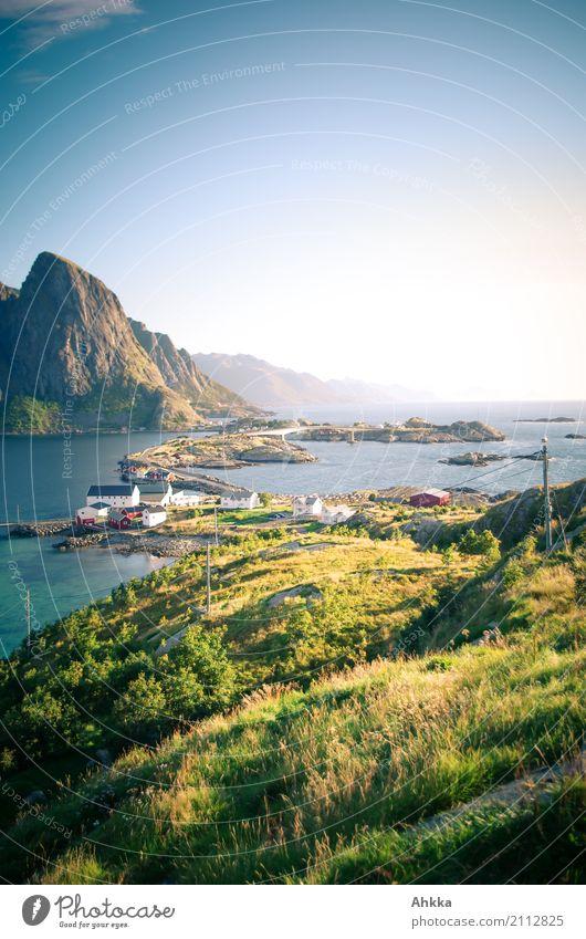Lofoten, island dream Vacation & Travel Adventure Nature Landscape Grass Peak Coast Ocean Island Reine Travel photography Fishing village