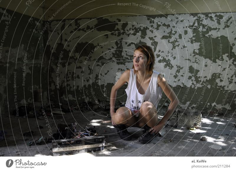Woman Human being Youth (Young adults) Summer Adults Feminine Building Room Dirty Exceptional Change Manmade structures 18 - 30 years Beautiful weather