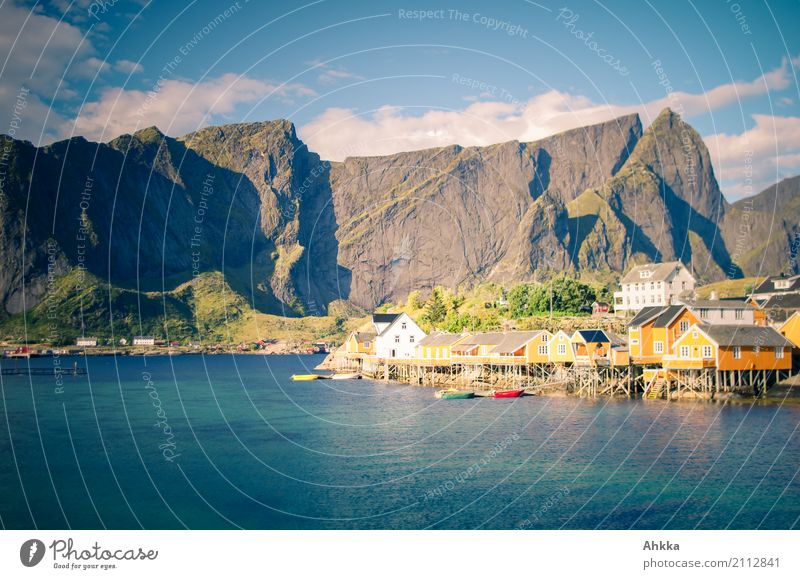 Rorbu, Reine, Lofoten, mountain massif, sea, nice weather Vacation & Travel Tourism Trip Sightseeing Environment Landscape Beautiful weather Mountain Fjord