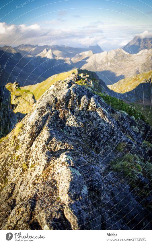 Summits under summits Vacation & Travel Adventure Far-off places Freedom Mountain Hiking Landscape Peak Norway Lofotes Illuminate Exceptional Fantastic Gigantic