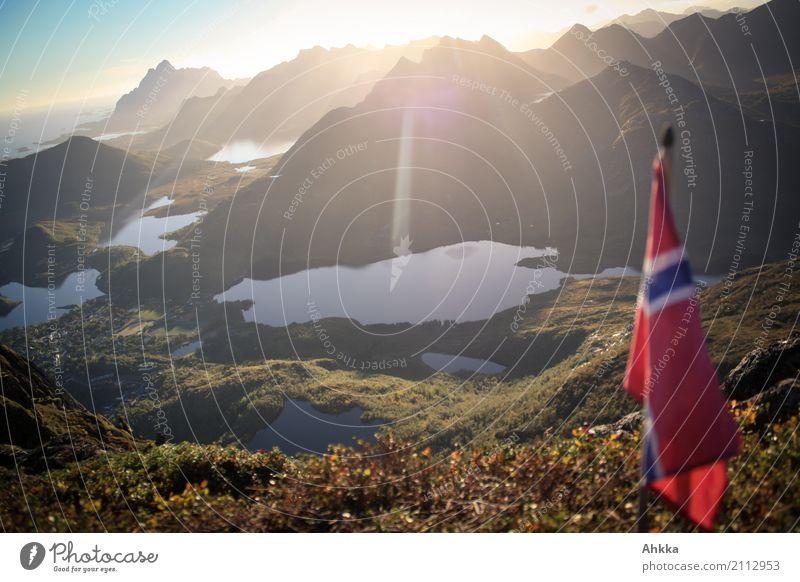 property marking Vacation & Travel Landscape Elements Sunrise Sunset Mountain Coast Island Lofotes Svolvaer Norway Flag Authentic Free Above Original Honor