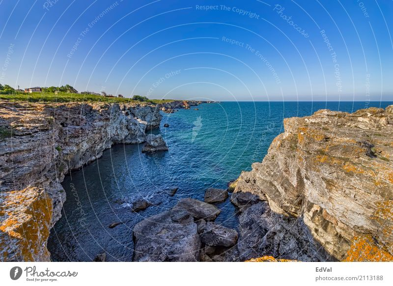 Costline Relaxation Vacation & Travel Summer Ocean Nature Landscape Sky Rock Coast Stone Blue Colour background billow Bulgaria Cave Cliff colorful edge Europe