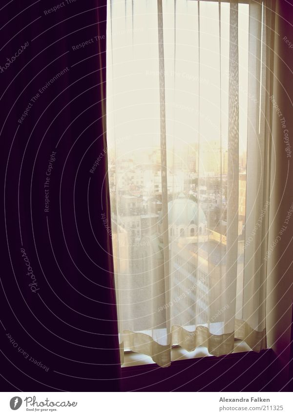 Loneliness Window Building Gloomy Vantage point Wrinkles Drape New York City Curtain Manhattan Vicinity Folds Domed roof Hidden Window board Hotel room