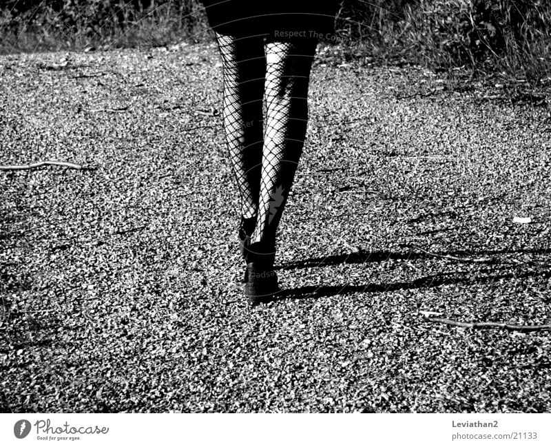 On her way home ... Woman Tights Fishnet tights Hollow Footwear Gravel Gravel path Legs Shadow Walking Lanes & trails Landing