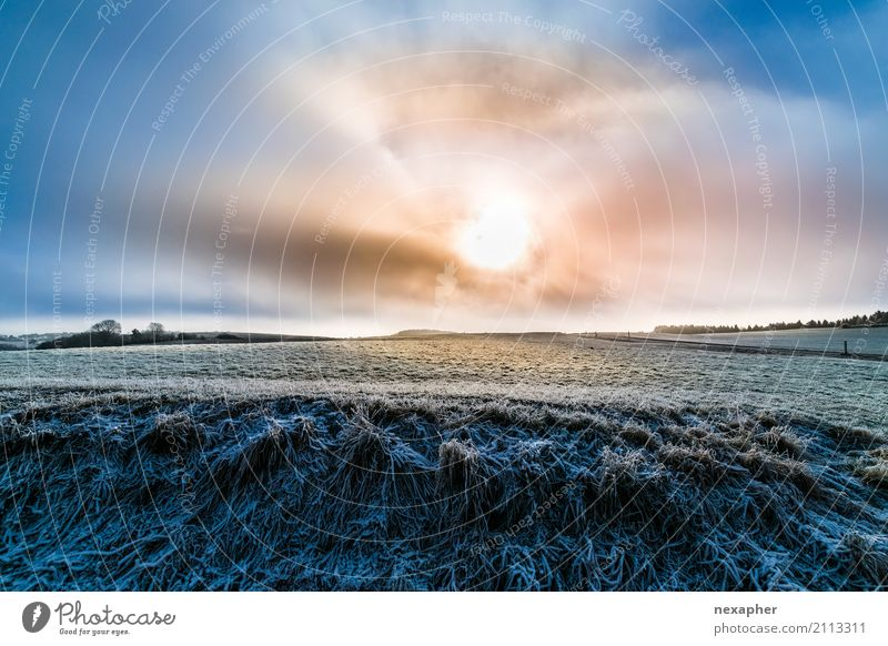 Cloudy sun with winter landscape Lifestyle Tourism Trip Far-off places Freedom Winter Environment Nature Sky Clouds Sun Sunrise Sunset Sunlight