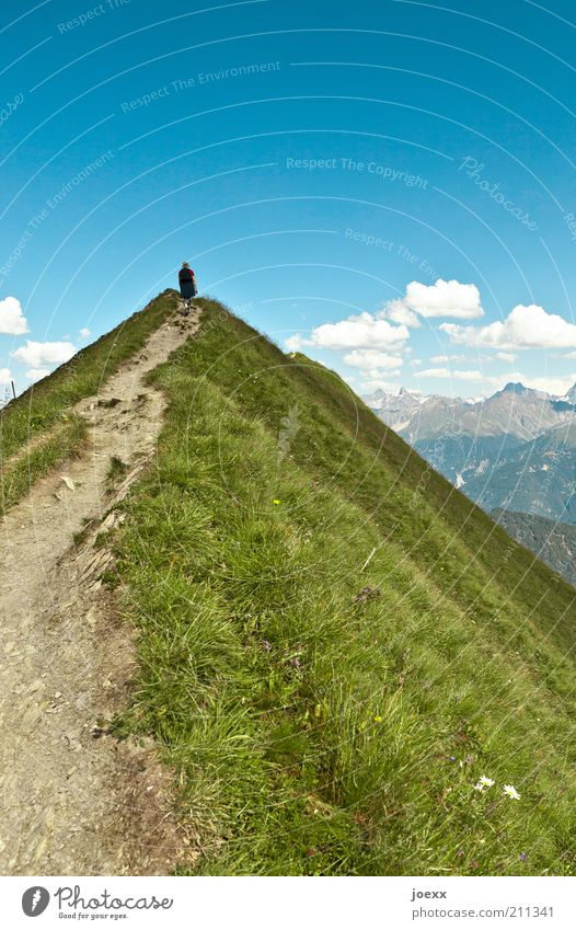 Narrow ridge Climbing Mountaineering Hiking 1 Human being Nature Landscape Sky Clouds Summer Beautiful weather Grass Alps Peak Lanes & trails Walking Looking
