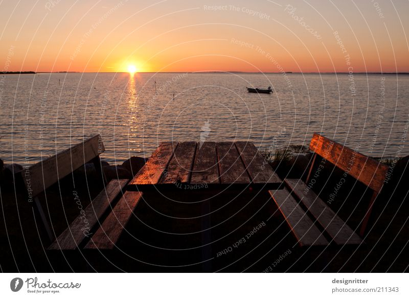 Sun Ocean Summer Vacation & Travel Calm Far-off places Relaxation Freedom Dream Coast Horizon Table Tourism Break Bench