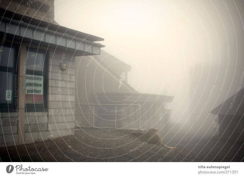 Viewing platform open Vacation & Travel Tourism Trip Bad weather Fog Peak House (Residential Structure) Building Signage Warning sign Threat Dark Creepy Cold
