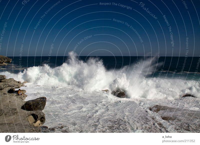 Human being Blue Beach Ocean Far-off places Landscape Movement Coast Moody Waves Power Wet Horizon Tall Rock Dangerous
