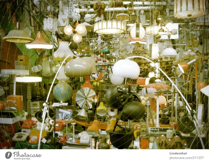 Do you need a lamp? Kitsch Odds and ends Nostalgia Flea market Lampshade Illuminating Sell Stalls and stands Old Colour photo Interior shot Day Store premises