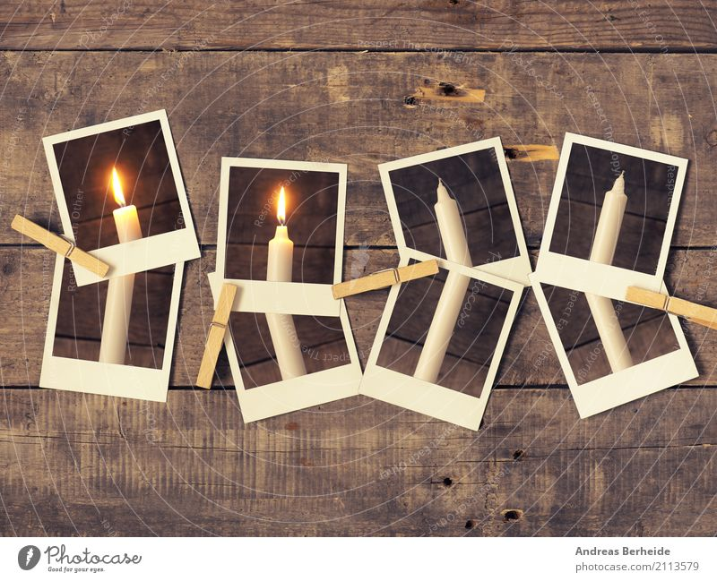 Second Advent Winter Christmas & Advent Old Retro Tradition Festive 2 Candle Christmas wreath advent candle Series of photos Polaroid wooden staples Clothes peg