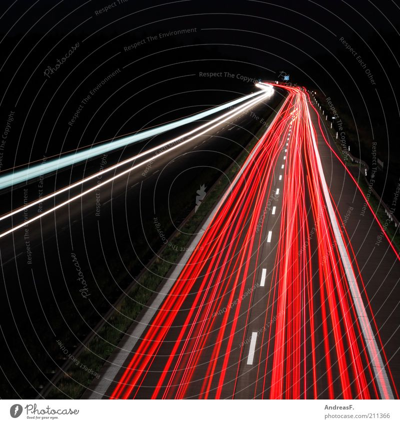 Vacation & Travel Street Dark Line Road traffic Transport Speed Driving Target Night sky Tracks Stripe Highway Illuminate Stress Dynamics