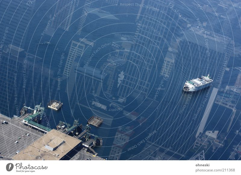 Water Ocean Vacation & Travel Coast Watercraft High-rise City House (Residential Structure) Bird's-eye view Harbour Navigation Mirror image Transport Reflection