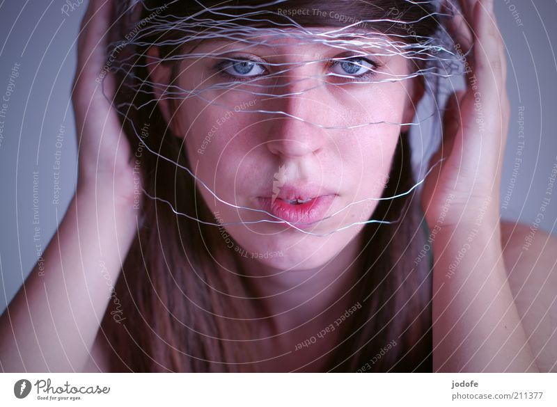 Woman Human being Youth (Young adults) Face Feminine Adults Protection To hold on Silver Wire Interlaced Vail Face of a woman Young woman Multicoloured Reticular