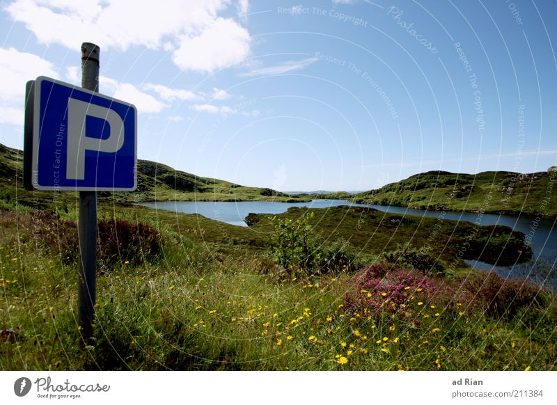 Break area [100] Nature Landscape Water Grass Bushes Hill Lakeside Fjord Pond Blossoming Colour photo Exterior shot Blue sky Clouds Sunlight Deserted Parking