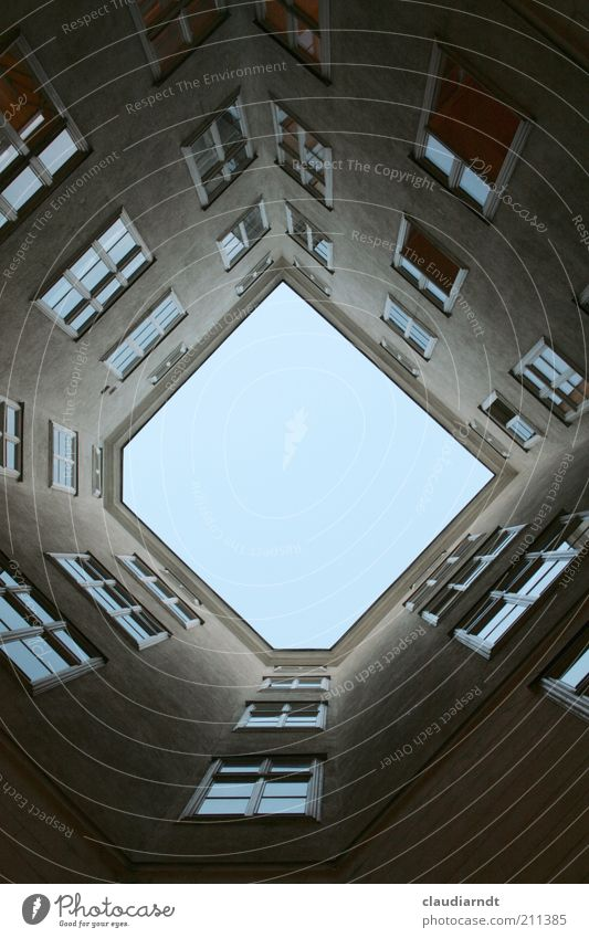 Sky Blue House (Residential Structure) Window Gray Building Architecture Facade Esthetic Gloomy Exceptional Upward Backyard Vertical Direct
