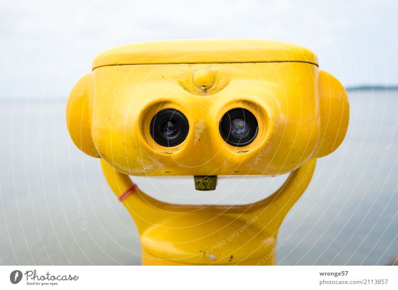 Trash! 2017 | Always smile Telescope Binoculars Glass Metal Smiling Laughter Wait Funny Near Maritime Yellow Far-off places Baltic Sea Coast Colour photo