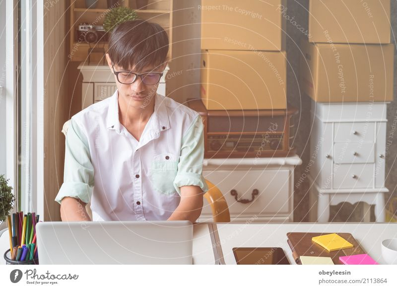 Handsome business man working Coffee Lifestyle Style House (Residential Structure) Table Work and employment Profession Workplace Office Business Telephone