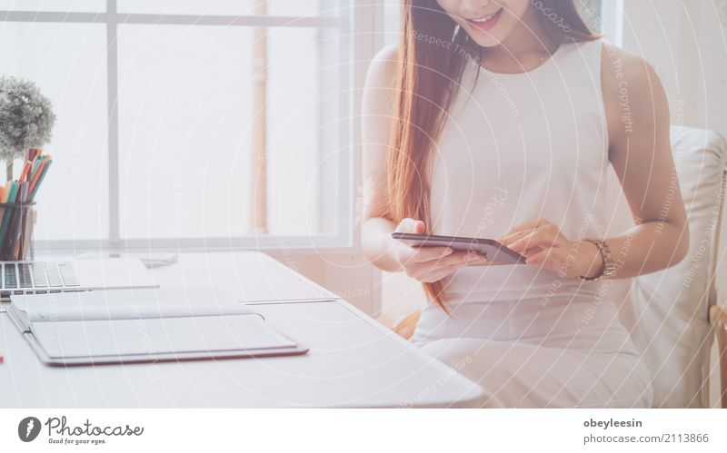 Young asian women entrepreneur working Coffee Desk Table Work and employment Profession Workplace Office Financial Industry Business Career Computer Technology