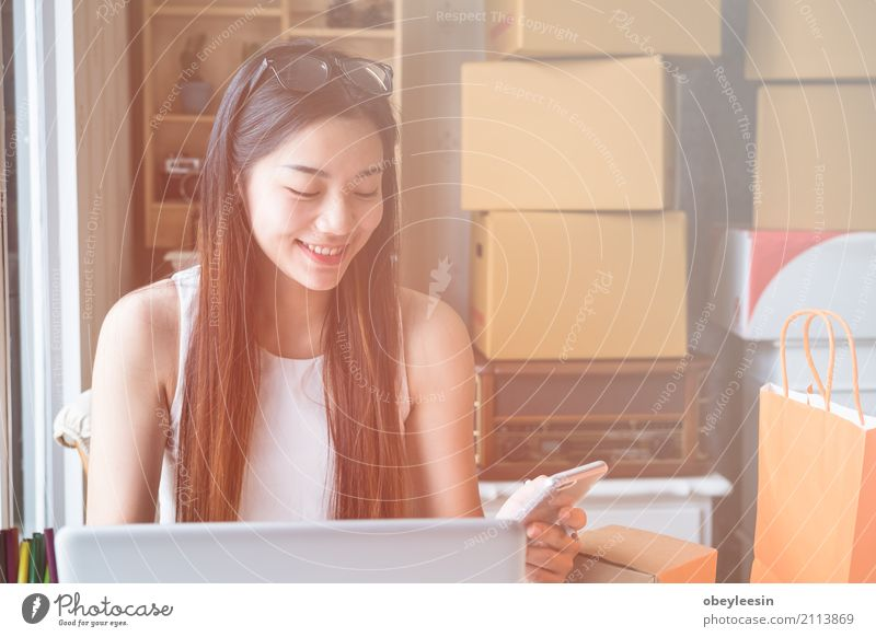Young asian women entrepreneur working Woman Adults Happy Business School Work and employment Technology Success Computer Study Paper Academic studies Internet