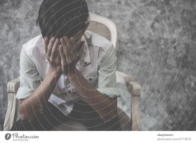 asian man sitting alone in the house Human being Man Loneliness Face Adults Sadness Think Fear Transport Heart Poverty Asia Anger Pain Force Distress