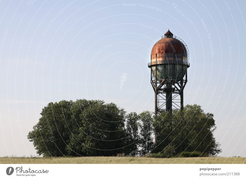 Lanstroper egg Industry Landscape Summer Tower Tourist Attraction Metal Steel Rust Old Brown Water tower Cistern Colour photo Multicoloured Exterior shot Day