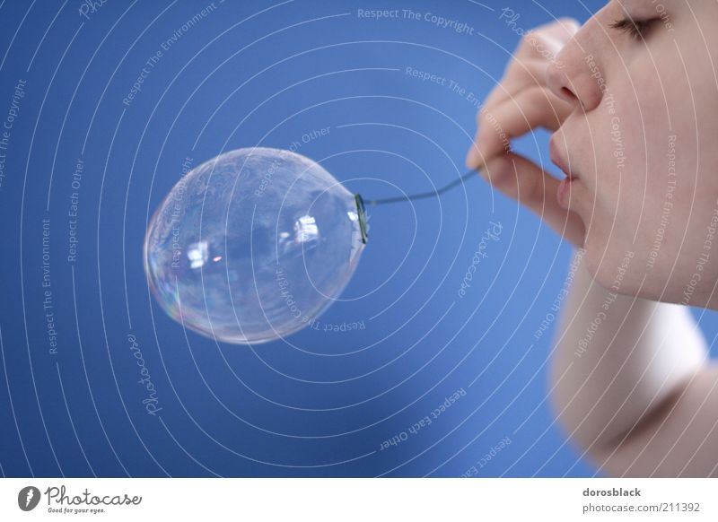 soap bubble Human being Feminine Young woman Youth (Young adults) 1 18 - 30 years Adults Simple Blue Soap bubble Blow Mouth Fine Easy Ease Air bubble