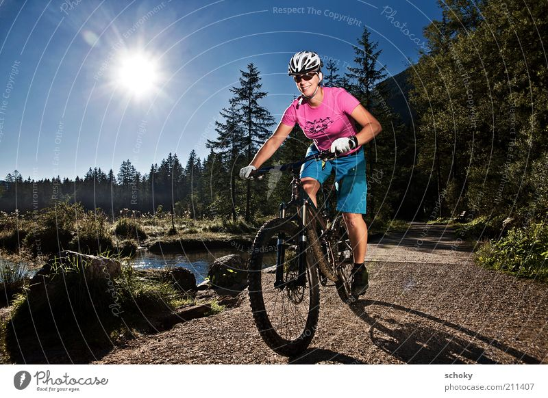 Human being Nature Youth (Young adults) Water Sun Summer Joy Adults Landscape Sports Mountain Lanes & trails Happy Healthy Bicycle Adventure