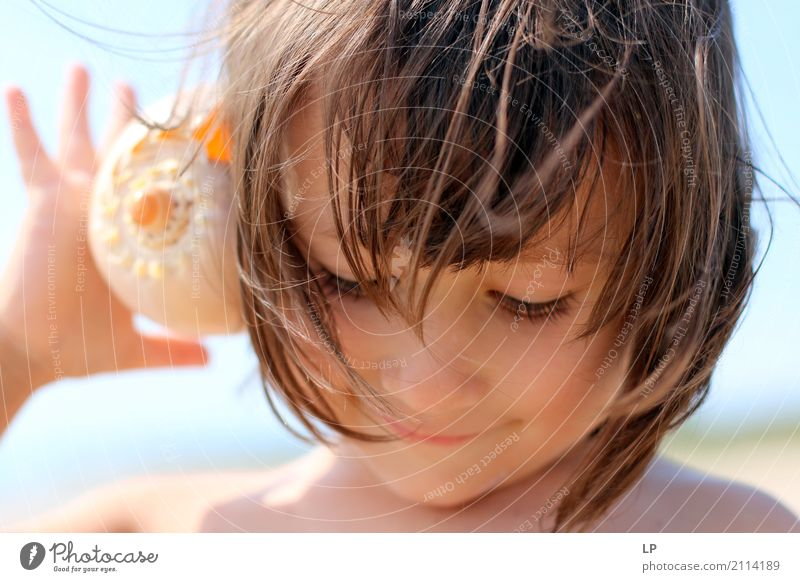 Listening and smiling Human being Child Vacation & Travel Summer Sun Ocean Relaxation Calm Joy Beach Adults Life Lifestyle Emotions Playing Tourism