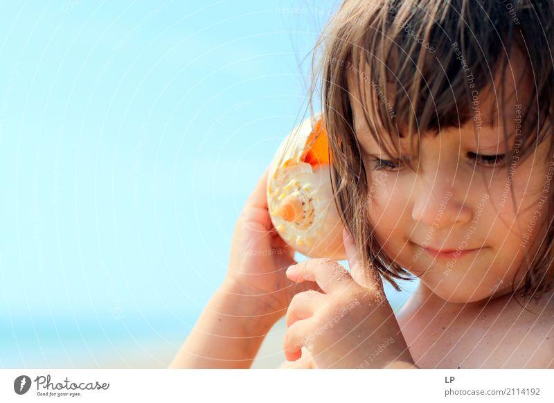 I am listening Wellness Life Harmonious Well-being Contentment Senses Relaxation Calm Meditation Children's game Summer vacation Sun Sunbathing Beach Ocean