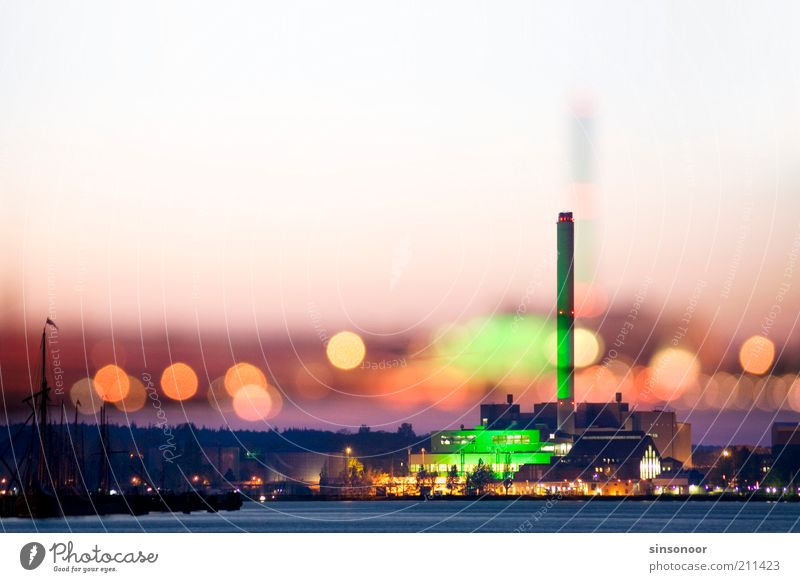 Clouded gloss Energy industry Coal power station Water Cloudless sky Baltic Sea Schleswig-Holstein Port City Skyline Industrial plant Harbour Chimney Town