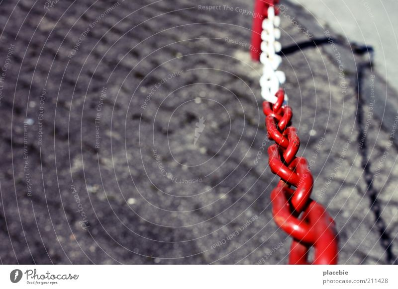 One chain red-white, please! Street Stone Concrete Threat Gray Red White Safety Chain Barrier Striped Close Passage Bans No through road Closed Divide Barred