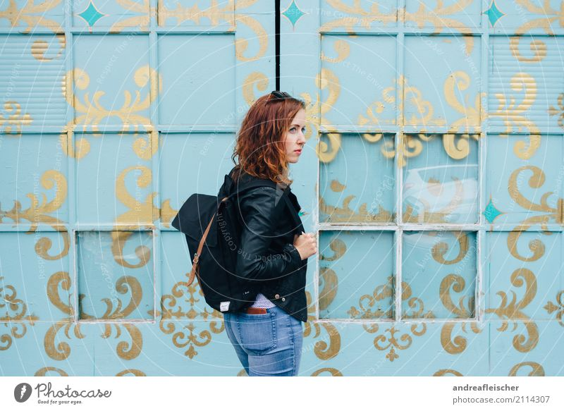 Young woman in front of turquoise painted window front Hair and hairstyles Vacation & Travel Tourism Trip Far-off places Freedom City trip Summer Feminine