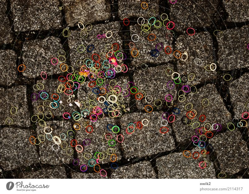 Green Red Yellow Funny Small Pink Together Lie Crazy Violet Many Sidewalk Firm Cobblestones Under Ring