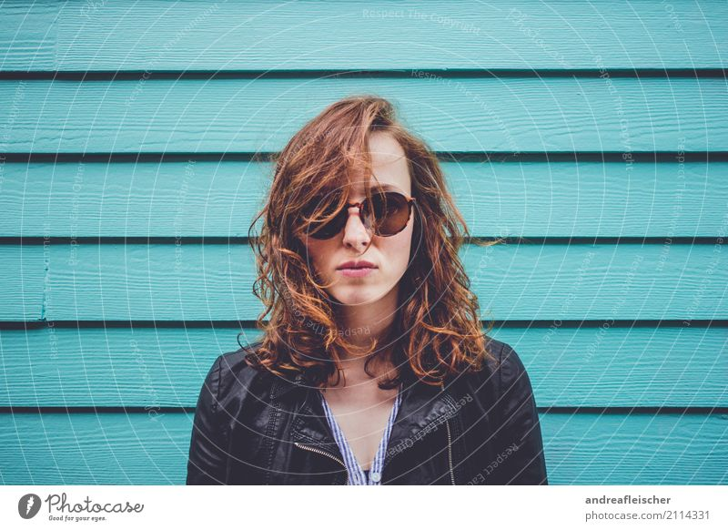 Cool young woman with sunglasses in front of turquoise wooden facade Vacation & Travel Summer Summer vacation Feminine Young woman Youth (Young adults) 1