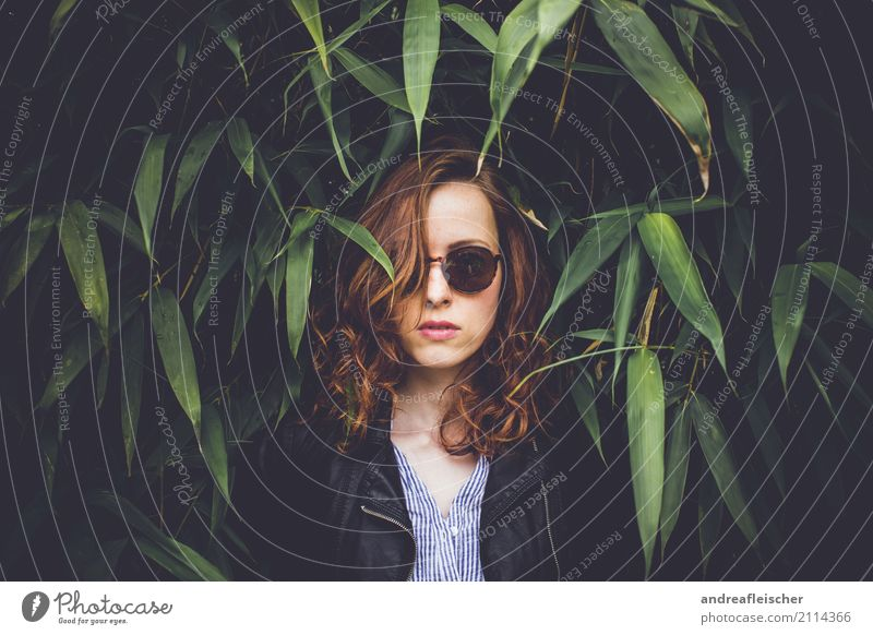 Young woman with sunglasses standing in bamboo bush Lifestyle Elegant Style Hair and hairstyles Vacation & Travel Trip Feminine Youth (Young adults) 1