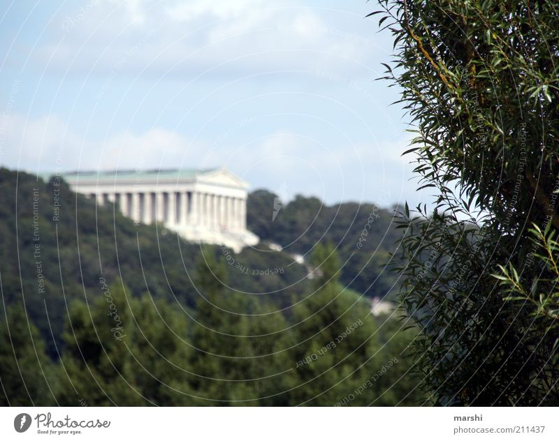 hall of fame Nature Plant Spring Summer Manmade structures Architecture Tourist Attraction Landmark Monument Green Walhalla Regensburg Danubetauf Hall Sky