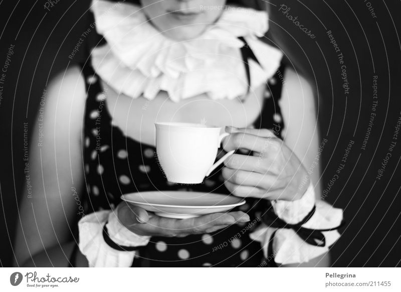 Human being Youth (Young adults) Hand Adults Feminine Moody Arm Mouth Fingers 18 - 30 years Young woman Dress Lips Cup Black & white photo Carnival costume